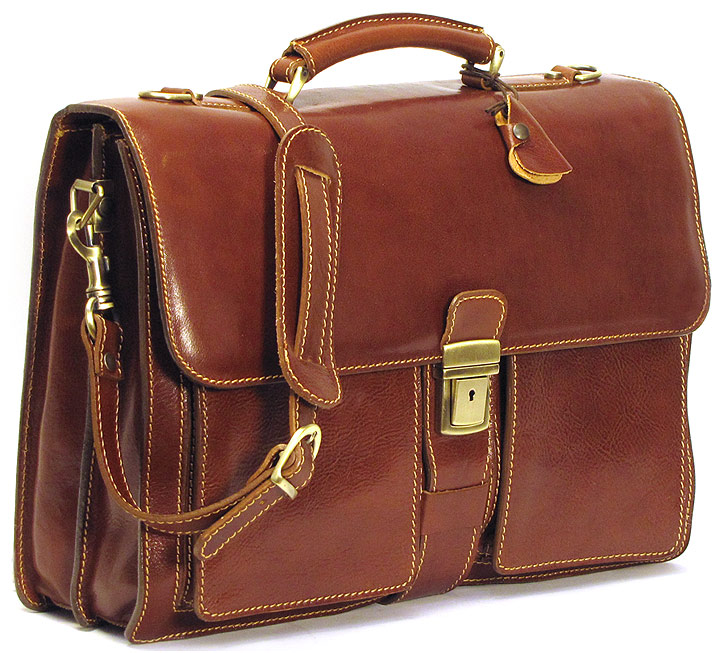 Novella Italian Leather Briefcase Bag - Fenzo Italian Bags