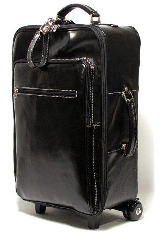 Venezia Men's Italian Leather Trolley Wheeled Upright Bag