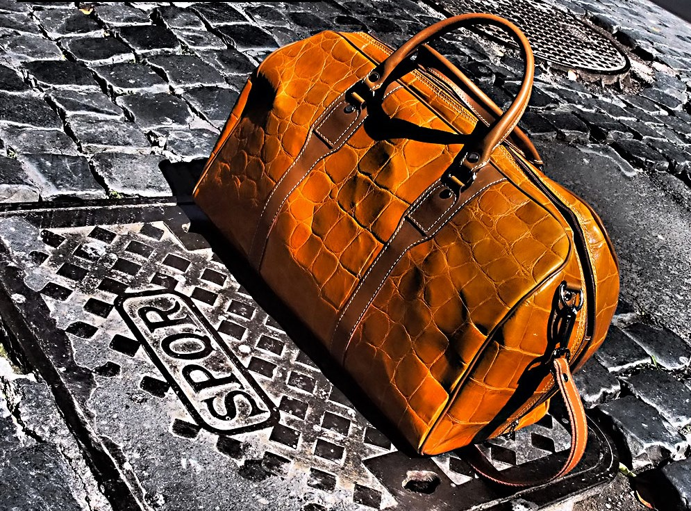 Ischia Stamped Leather Duffle